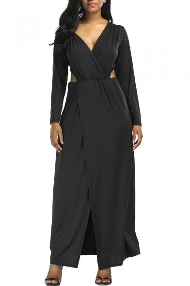 Elegant Long Sleeves V-Neck Cutout Waist Split Hem Wrap Maxi Plain Dress