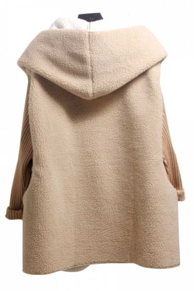 Warp Single Winter Fur Sized Elegant Breasted Long Hooded Front Knitted Coat Sleeves Padded Over v4AqAxS