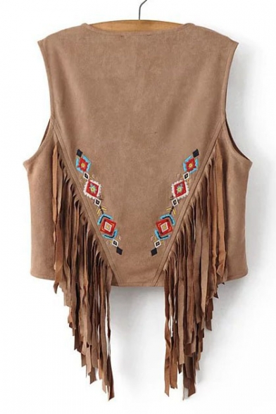 Ethic Geometric Embroidered Open Front Sleeveless Tasseled Casual Women's Vest
