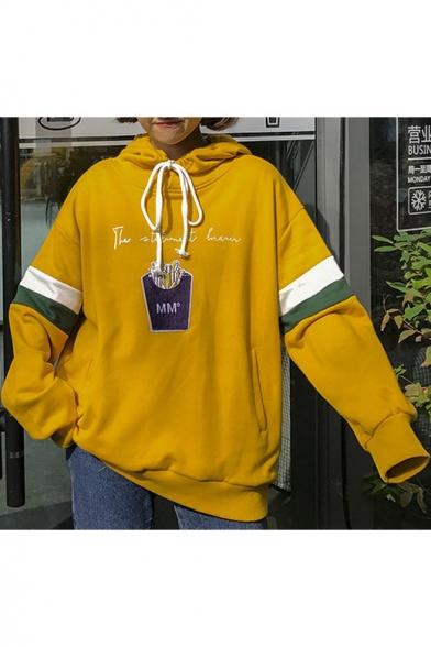 Long Striped Letter Fashion Drawstring Print Sleeve Hood Hoodie WSXqpPF8n