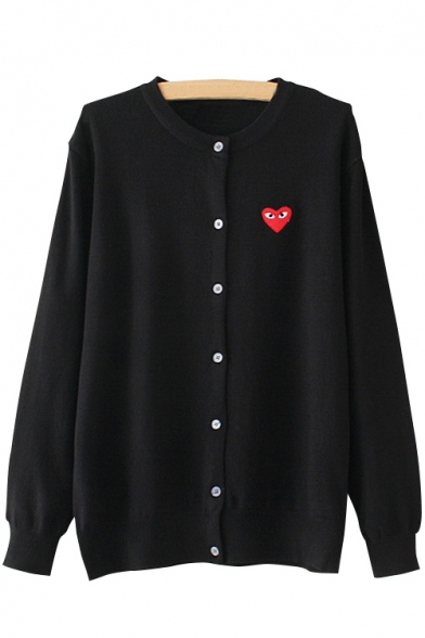 Sleeve Cardigan Pattern Neck Fashionable Round Heart Embroidery Long qTHIHx