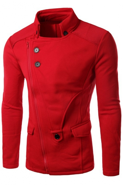 Long Split Fit Up Jacket Stand Slim Back Fashionable Sleeve AId0qwAv
