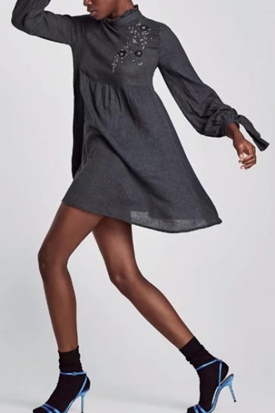 Floral Embroidered Sequined Long Sleeve Swing Mini Dress