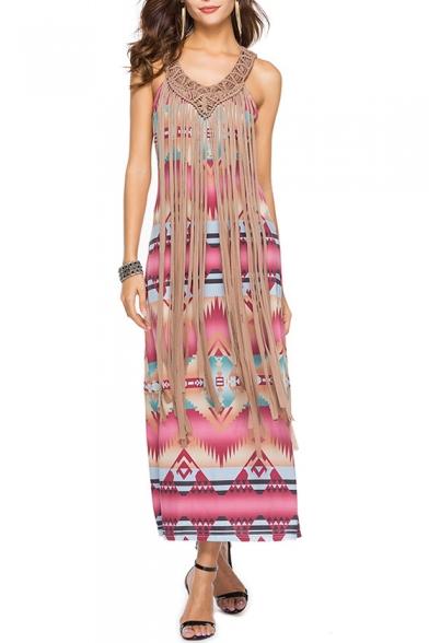 New Stylish Tribal Print Maxi Beach Dress with Strap