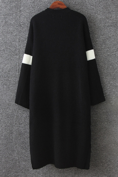 New Trendy Pattern Long Sleeve Round Neck Loose Knitted Dress