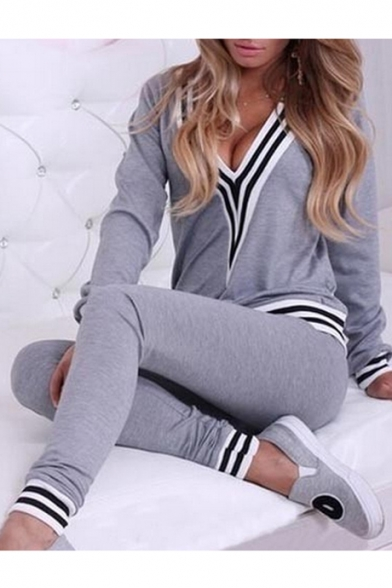 Sexy V-Neck Long Sleeves Striped Trimmed Slim-Fit Co-ords