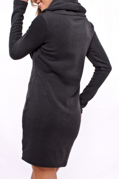 Neck Sleeve Mini Long Simple Plain Cowl Dress Hoodie qgw4UEZx