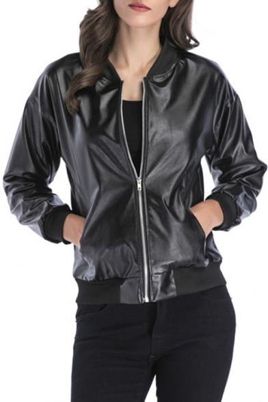 Simple Plain Faux Leather Zipper Long Sleeve Stand-Up Collar Jacket