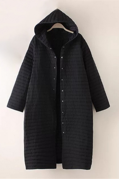 Simple Plain Long Sleeve Single Breasted Hooded Tunic Padded Coat LC458249 фото