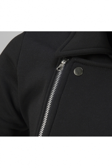 Zipped Simple Plain Jacket Point Pockets Collar Long Sleeves with Zippered OTRqwO8r