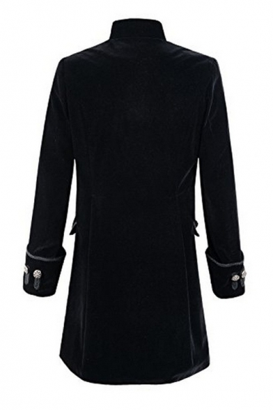 Steampunk High Neck Long Sleeves Button-Down Longline Coat with Flap-Pockets & Turn-up Cuffs