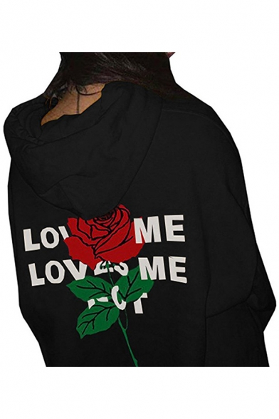 Hoodie Letter Pullover Drawstring with Long Stylish Sleeves Printed Floral 1Sxwqa