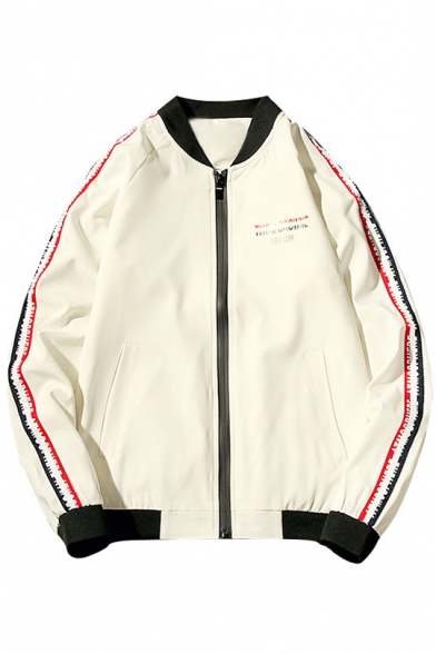 Letter Long Baseball Stylish Print Pockets with Jacket Sleeves Striped qpExBnxTwd