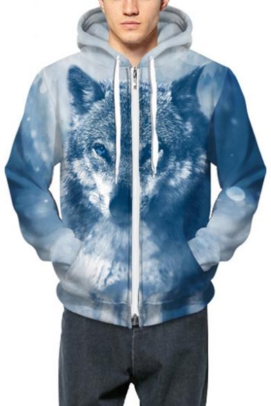 with Stylish Pattern Snow Wolf Zippered Long Tibetan Pockets Hoodie Sleeves wwAq8vT
