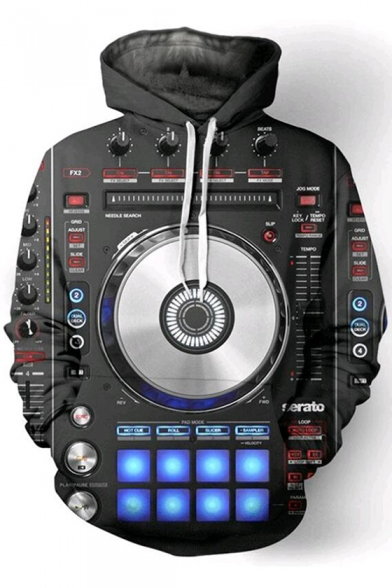 Hoodie Sleeve Keyboard Print DJ Trendy Long Drawstring 3D qP0pFwH