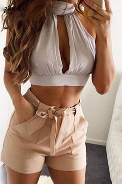 Trendy Halter Neck Cutout Font Open Back Bow Tie Lace Panel Cropped Top