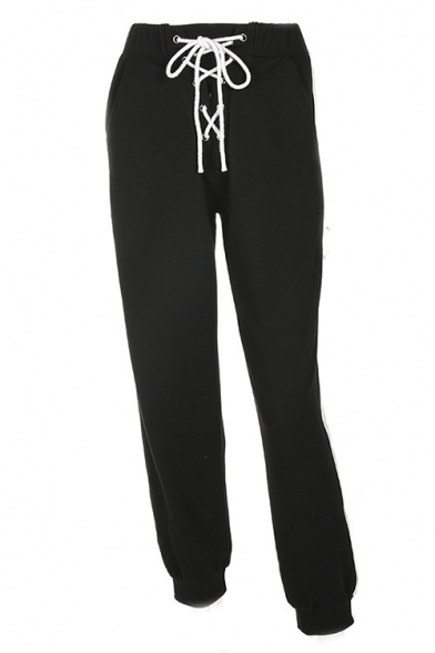 Casual Striped-Side Attached Straps Elastic Waist Loose Joggers