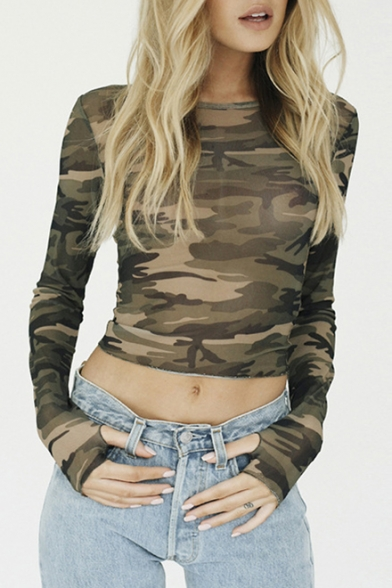 Fitted Sleeve Tee Neck Print Cropped Camouflage Chic Slim Round Long vHq0wtx