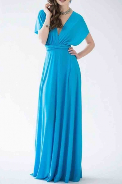 Chic Plunge Neck Open Back Simple Plain Maxi Dress with Multi-Way Strap