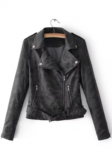 Cool Camouflaged Pattern Notched Lapel Long Sleeves Zippered Biker Jacket with Buttons
