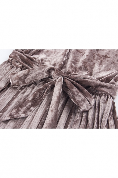 Elegant Round Neck Long Sleeve Tie Waist Pleated Midi Dress