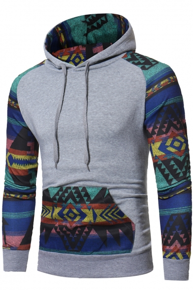 Pattern Pullover Pocket Block Long Tribal Men's Ethic Sleeves with Hoodie Color Geometric nwXExax0