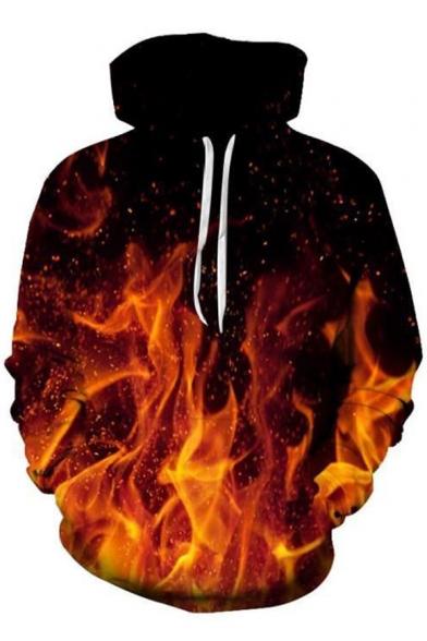 Fashionable 3D Fire Print Drawstring Hood Long Sleeve Hoodie