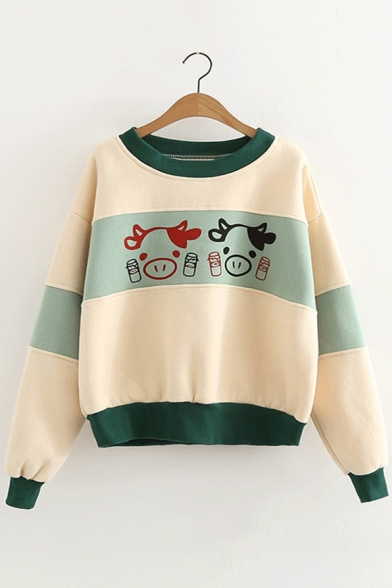 Print Shoulder Color Block Sweatshirt Round Cartoon Dropped Neck Cow Pullover Lovely 7wEC1C