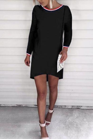 New Stylish Striped Trim Round Neck Long Sleeve Dress