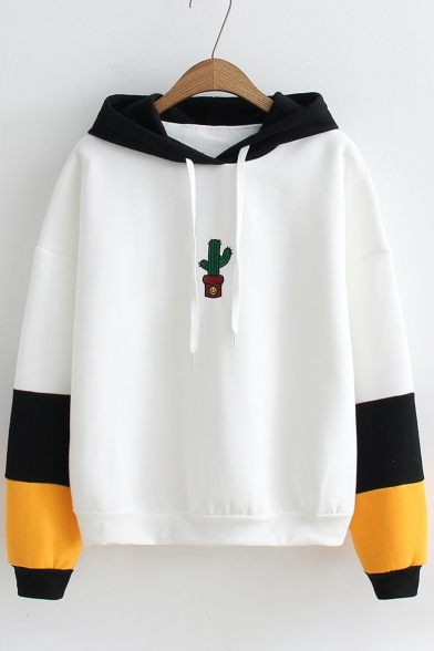 Popular Color Block Cactus Pattern Long Sleeves Pullover Hoodie with Drawstring