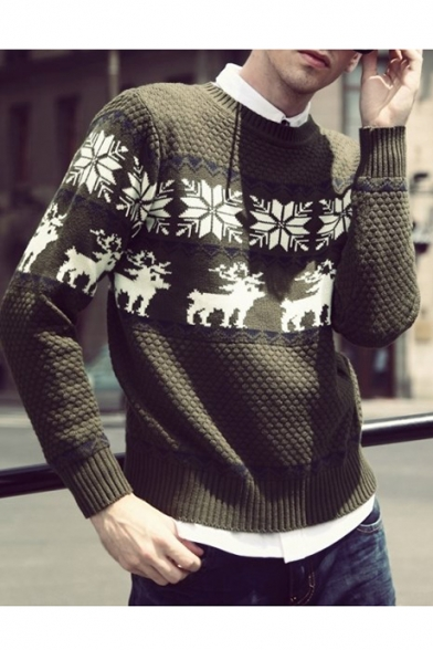 Geometric Snowflake Diamond Pullover Popular Deer Honeycomb Knitted Sweater Pattern RpfAAvwnq