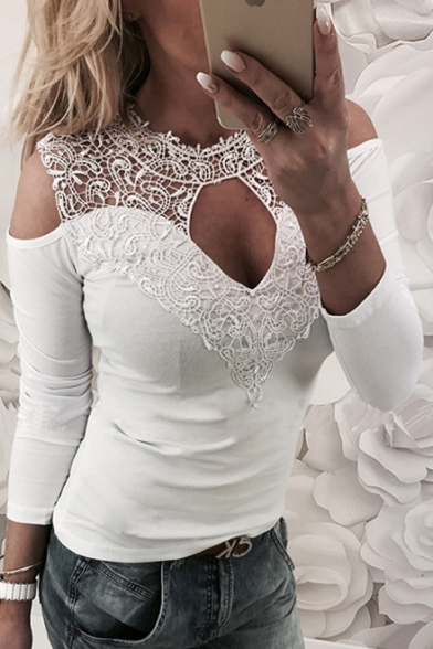 Long Sleeve Sexy Tee Front Crochet Hollow Shoulder Cold qFqXfS
