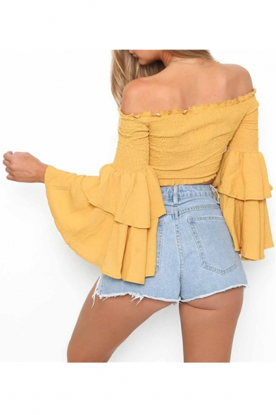 Sexy Off Shoulders Bell Long Sleeves Falbala Trimmed Cropped Ruffly Cropped Top