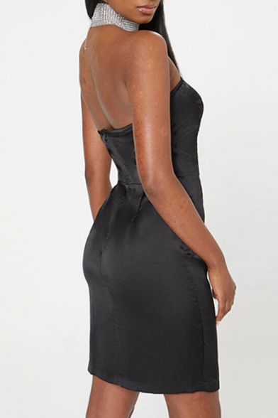 Sexy Split Side Hollow Out Squined Tube Mini Dress