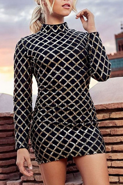 Shimmering Sequined Plaid High Neck Long Sleeve Pencil Mini Dress