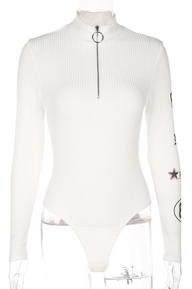 Zippered High Bodysuit Letter Printed Long Sleeves Number Neck Simple xqwXz0Z8q