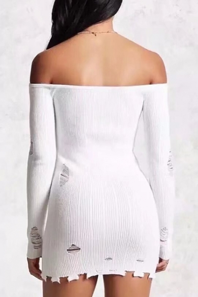 Simple Plain Off Shoulder Long Sleeve Ripped Detail Knitted Dress