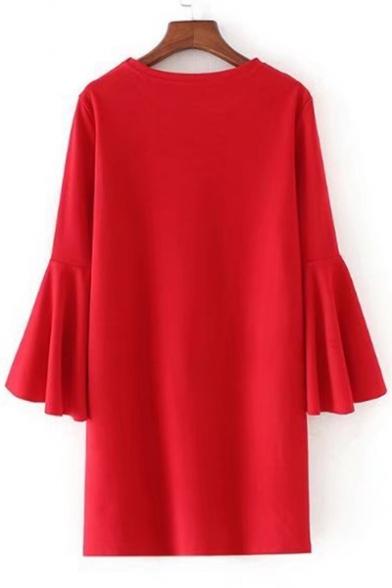 Simple Plain Round Round Flared Long Sleeve Shift Mini Dress