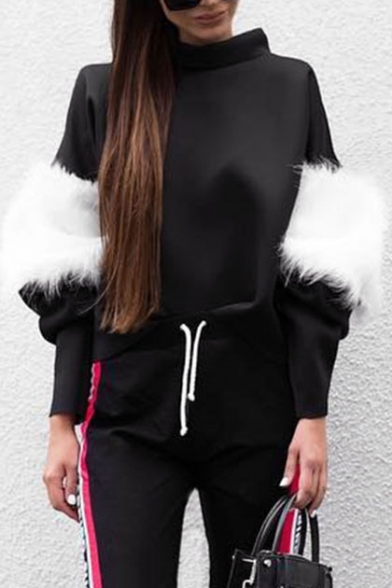 Faux Sweatshirt Sleeves Long Patchwork Casual Pullover High Stylish Neck Fur d4RzHdW7