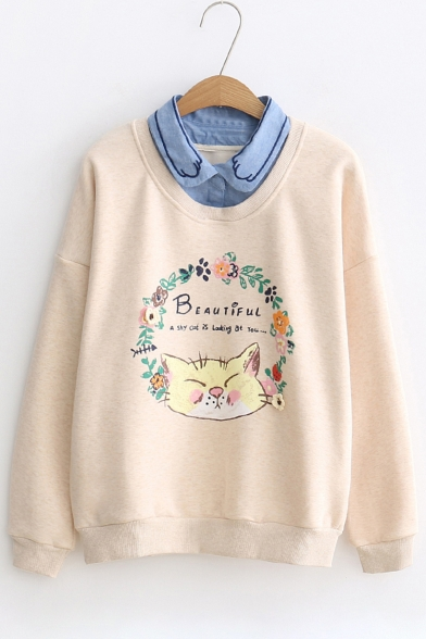 Cat Sweatshirt Collar Sleeves Paws Floral Pullover Point Long Trendy Printed Letter pcBdwBqA