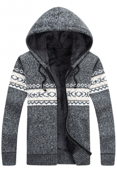 Warm Geometric Pattern Long Sleeves Faux Fur Padded Knitted Zippered Knitted Coat