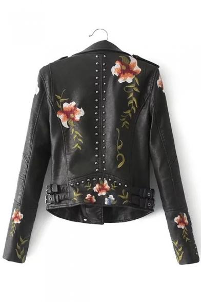 Embroidered Women's Cool Biker Lapel Zippered Fashion Floral Notched Rivet Jacket Embellished ERR6w