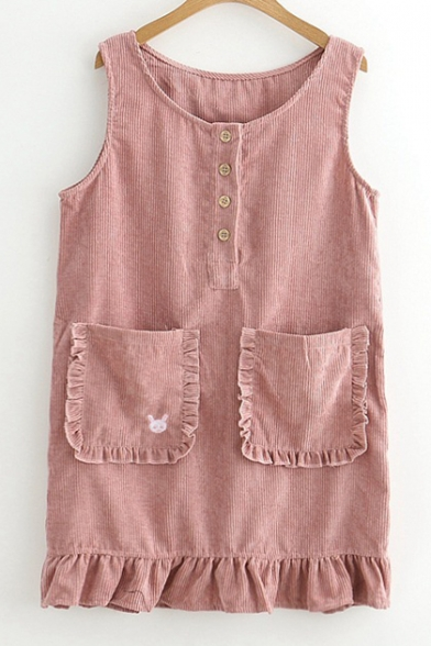 Adorable Round Neck Buttons Ruffled Hem Mini Overall Dress with Pockets