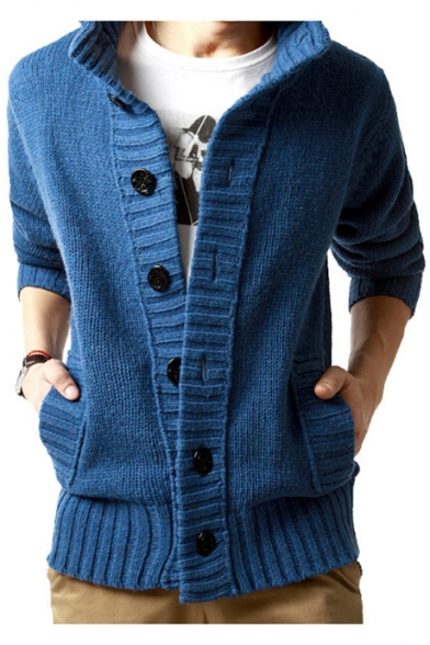 Long Cardigan Sleeves with High Ribbed Pockets Casual Button Down Neck TwnSFInq