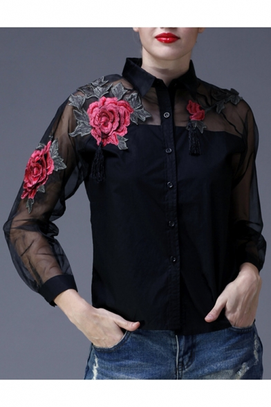 Down Button Sleeve Panel Long Sheer Floral Chic Shirt Mesh Embroidered axqw1AF