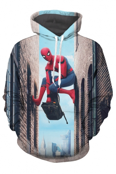 Cool Climbing Building Movie Character Printed Long Sleeves Pullover Hoodie with Pocket