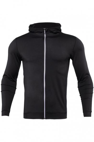 31ce798ec4 Men's Fashion Plain Long Sleeves Zippered Casual Slim-Fit Hoodie -  Beautifulhalo.com