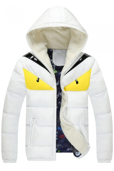 Zippered Hooded Arrival Long Color Padded Sleeve New Coat Fashionable Block Rq0IS