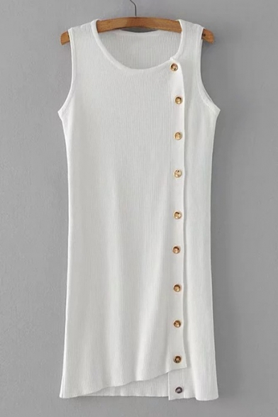 New Stylish Button Side Simple Plain Round Neck Knitted Tank Dress