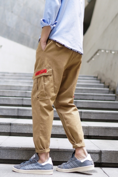 New Stylish Letter Print Leisure Pants with Flap Pocket